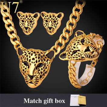 Cool Leopard Head Bracelet Earrings Necklace Set For Women/Men New Trendy 18K Real Gold Plated Costume African Jewelry Sets S365