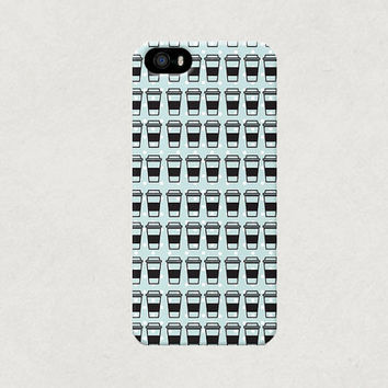 Blue Polka Dot Take Out Coffee Cup iPhone 4 4s 5 5s 5c Case