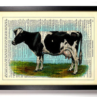 The Dairy Cow Farm Animal Repurposed Book Upcycled Dictionary Art Vintage Book Print Recycled Vintage Dictionary Page Buy 2 Get 1 FREE