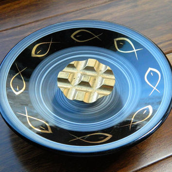 Vintage Mid-Century Ceramic Ashtray with Metal Cigarette Rest and Fish Design Made by Evans