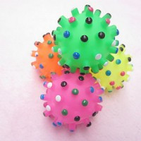 Colorful Dots Magic Sensory Ball Squeaking Toy for Pets Dogs (Assorted Colors)(Yellow) - Default