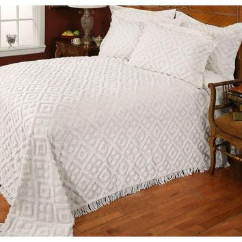 Twin Size 100% Cotton Bedspread With White Diamond Pattern & Fringed Edges