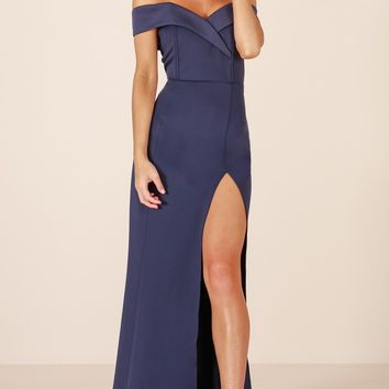One For The Money dress in steel blue Produced By SHOWPO