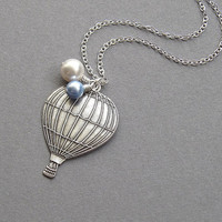 Hot air balloon necklace, antiqued silver, sky blue and white swarovski crystal pearls, long chain, vintage inspired