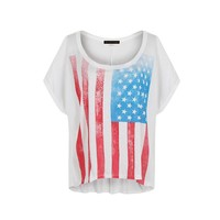 Multi Short Sleeve Top - American Flag T-Shirt | UsTrendy