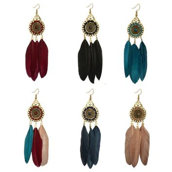 Hot Fashion Charms Bohemian Earrings For Women Hollow Feather Long Tassel Dangle Earring Shellhard Vintage Ethnic Jewelry Gift