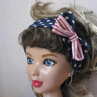 Ladies Hair Bandana, 4th of July, STARS,  Bandana, Patriotic, Pin-up, BANDANA, Retro Style, BigBow Hairband, Hair Scarf ,4th of July  #322