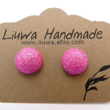 Hot Pink Glitter Dot Post Earrings, Polymer Clay Studs, Stainless Surgical Steel Posts