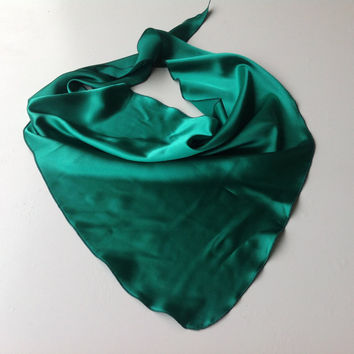 Emerald Green  scarf, Spring neckScarf, Hips Scarf under 10, Birthday gift for Teenager Girl, Green Satin Bandana Coworker her Birthday gift