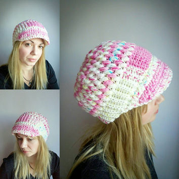 Pink Newsboy Cap Crochet Visor Hat White Womens Hat Crochet Beanie Hat Puff Stitch Newborn Hat Baby Hat Crochet Hat Colorful Hat Winter Hat