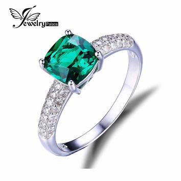 JewelryPalace Cushion 1.8ct Created Green Emerald Solitaire Engagement Ring Pure 925 Sterling Silver Luxury Jewelry
