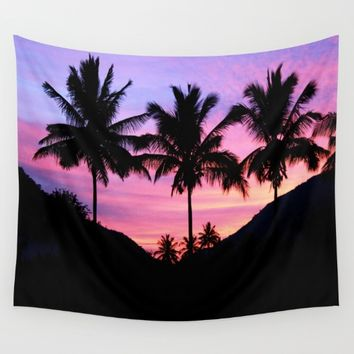 Sunset Palm Trees Wall Tapestry by WhimsyRomance&Fun