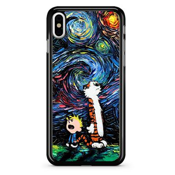 Van Gogh Calvin And Hobbes iPhone X Case