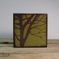 Tree Silhouette Wood Art Block Painting---MatchBlox-1676