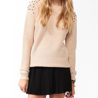 Spiked Dropped Shoulder Sweater