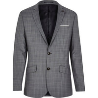 River Island MensGrey check wool-blend slim suit jacket