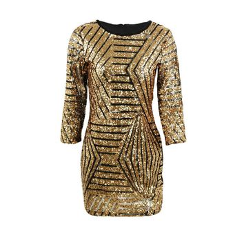 Sexy Women Slim Bandage Bodycon Dress Back Zipper Sheer Gold Sequins See-through Dress 3/4 Sleeve Clubwear Party Mini Dresses