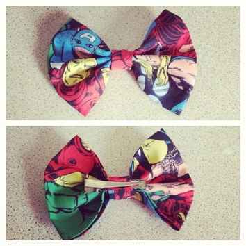 Marvel Heroes Comic Book Fabric Hair Bow Clip or Headband