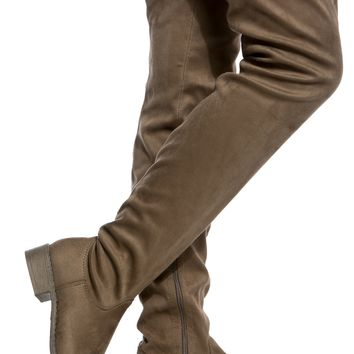 Taupe Faux Suede Thigh High Boots @ Cicihot Boots Catalog:women's winter boots,leather thigh high boots,black platform knee high boots,over the knee boots,Go Go boots,cowgirl boots,gladiator boots,womens dress boots,skirt boots.