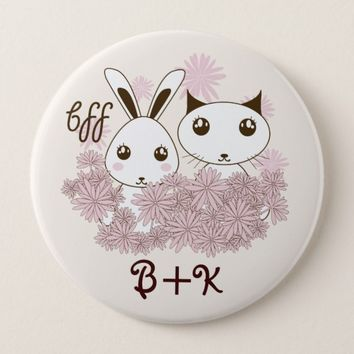 Cute Animal Cartoon Girl Friendship Kids Monogram Button