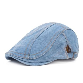 Casual Fashionable Strappy And Adjustable Buckle Embellished Jeans Flat Cap For Men