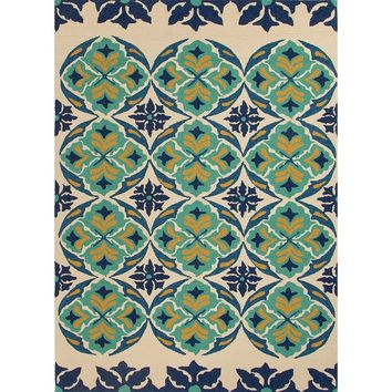 Terra Turquoise and Blue Outdoor Patio Rug