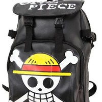 Meilaier Black Japanese Anime One Piece Rucksack Bag Travel Zipper Artificial Leather Backpack