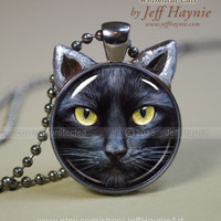 CAT NECKLACE, Black Cat pendant // Halloween necklace resin pendant // black cat jewelry // Black Cat Jewelry Picture Pendant // Cat Lover