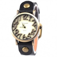 Unique Marks Frame Analog Digital Watch With PU Leather Black