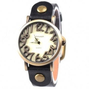 Unique Marks Frame Analog Digital Watch With PU Leather Black = 1956659012