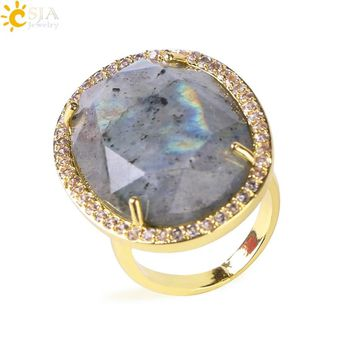 CSJA Natural Stone Faceted Opening Adjustable Ring Gold Color Plated Crystal CZ Zircon Rhinestone Rings for Women Men Gifts F458