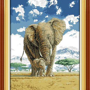 Elephants Mom and Son's Deep Love DMC Cross Stitch Kits Accurate Printed Embroidery DIY Handmade Needle Work Wall Art Home Decor