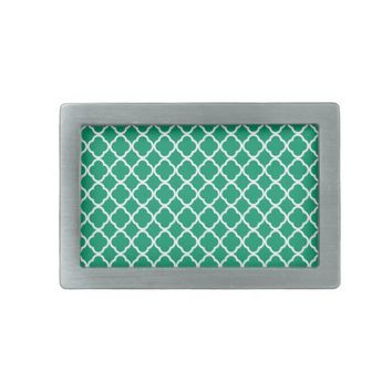 Jade Green And White Quatrefoil. Moroccan Pattern Belt Buckles from Zazzle.com