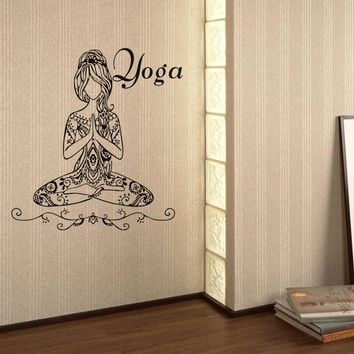 New creative fashion Yoga Meditate Pose Girls Wall Sticker car-detector wall sticker poster stickers  decorations for home