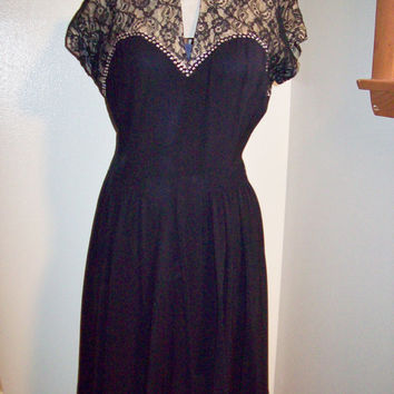 Truly Amazing Vintage 40s Rayon Lace & Rhinestone Studded USO Pin Up Girl Dress Keyhole Neckline Rockabilly VLV