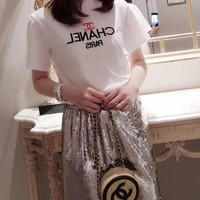"""Gucci"" Woman Casual  Wild Fashion Letter   Printing  Short Sleeve Tops"