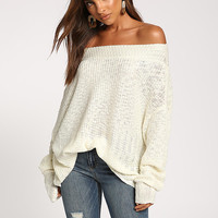 Ivory Off Shoulder Puff Sleeve Sweater Top