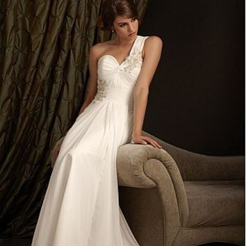 Buy discount Soft and Romantic Chiffon A-line One Shoulder Neckline Wedding Dress With Lace Appliques, Beadings and Rhinestones at dressilyme.com