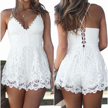 White Sand Beach Lace Romper
