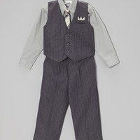 Gray Pinstripe Four-Piece Vest Set - Infant, Toddler & Boys