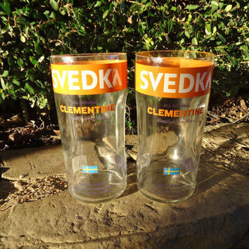 Drinking Glasses with Handles Recycled from Large Svedka Clementine Vodka Bottle 45 oz  Set of 2