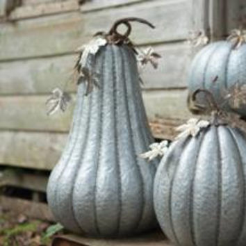 "Galvanized Pumpkin with Rustic Detail- 16""D x 25 1/2""T"