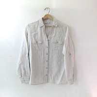 vintage linen shirt. button down pocket shirt. natural beige minimalist shirt