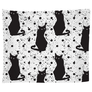 Hand Drawn Cat Pattern Tapestry