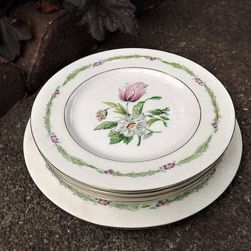 Small Floral Plates, Tulip Plates, Haviland Garden Flowers, Set of 4 Vintage Bread & Butter Plates, 1 Salad Plate, Pink Flower Dessert Plate