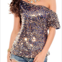 Sequin Bat Sleeve T - Shirt B0014401