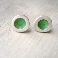 Paper Resin Studs  Silver Frame  Yellow Spiral on by StudioRhino