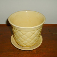 Vintage Planter Yellow Quilted Flower Pot Possibly Brush McCoy