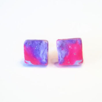 Abstract Square Clay Earrings ~ Polymer Clay Earrings ~ Stud Earrings ~ Everyday Earrings ~ Gift Party Favor ~ Nickel Free
