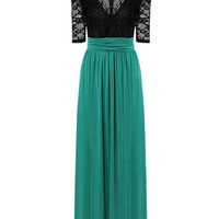 Maxi Dress with Thigh Split in Black and Green or Black and Apricot or White and Blue